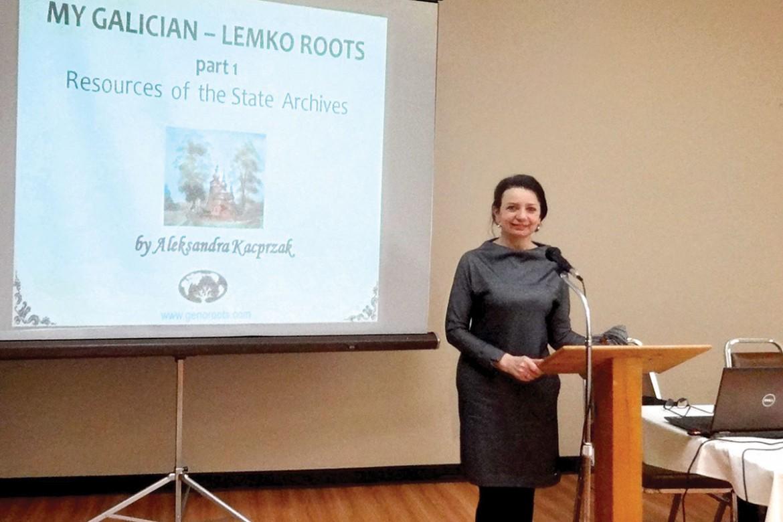 Aleksandra Kacprzak speaks at the Ukrainian genealogy conference in Somerset, N.J., held in March.