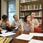 2016 Harvard Ukrainian Summer Institute students at a lecture in the Omeljan Pritsak Library and Conference Room.