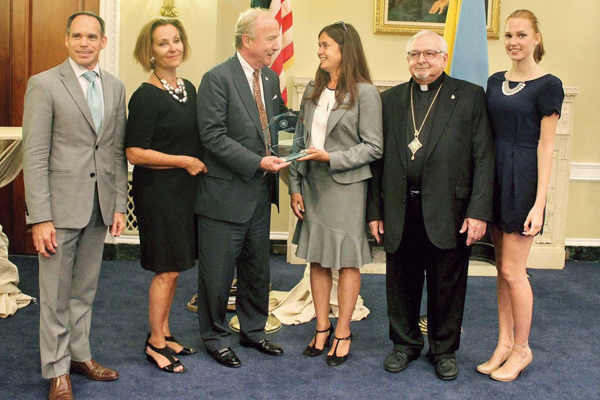 Rep. Rodney Frelinghuysen of New Jersey (third from left), recipient of the Friend of UNIS award, with (from left): Michael Sawkiw Jr., Roksolana Lozynskyj, Tamara Olexy, Bishop John Bura and Kira Lozynskyj.
