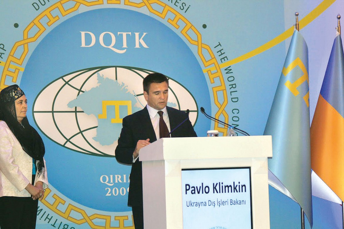 Foreign Affairs Minister Pavlo Klimkin delivers a message from Ukraine to the World Congress of Crimean Tatars.