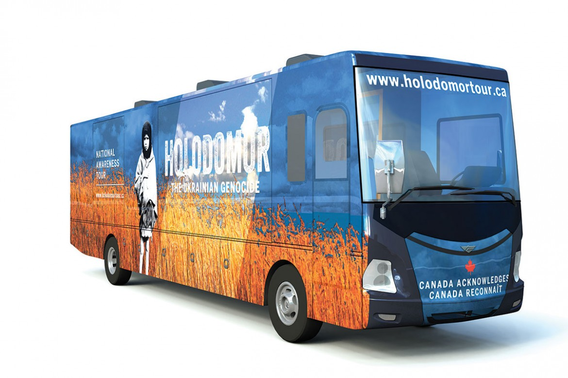The Holodomor National Awareness Tour's state-of-the-art mobile classroom.