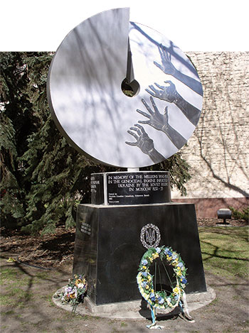 The Holodomor monument in Edmonton, Alberta, designed by Ludmilla Temertey.