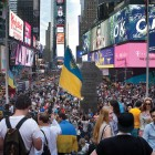 "NEW YORK – Ukrainian Americans, representatives of several waves of immigration from Ukraine and their progeny, filled New York's Times Square with the blue and yellow colors of Ukraine's national flag and beautiful Ukrainian embroidery in celebration of the 24th anniversary of the renewal of Ukraine's independence. They came together as a flashmob on the evening of August 23, carrying Ukrainian flags and banners, singing Ukrainian songs and the national anthem of Ukraine, and greeting each other with the words ""Glory to Ukraine – glory to the heroes."" Among those demonstrating their Ukrainian pride was Ukraine's ambassador to the United Nations, Yuriy Sergeyev, attending in an unofficial capacity. (For photos and information about more community celebrations of Ukrainian Independence Day, see pages 14-15.)"