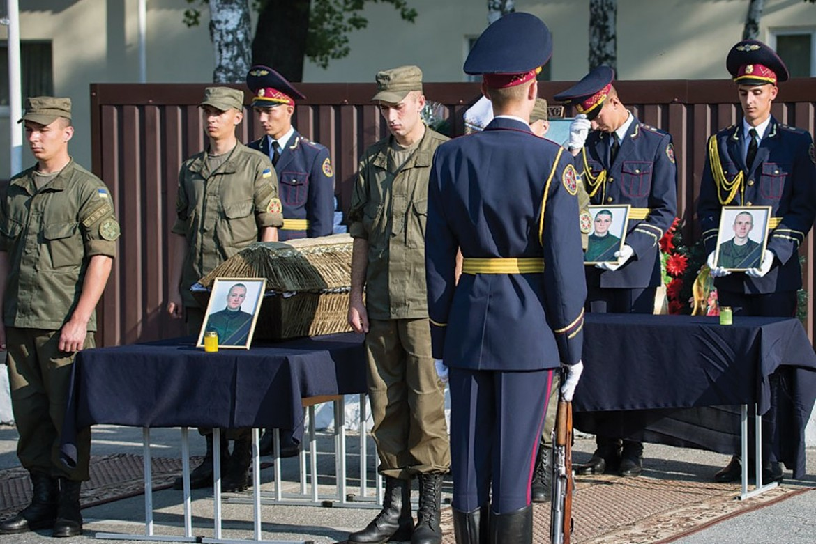 A military farewell ceremony for the three National Guardsmen killed in the August 31 violence near the Verkhovna Rada. The deceased are: Ihor Debrin, 24, Oleksandr Kostyna, 20, and Dmytro Slastnikov, 21.