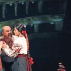 "Oksana Samolyuk, Stepan Hlova and Valentyna Matsialko in a scene from ""Natalka Poltavka."""
