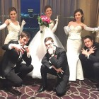 Debutantes and their escorts (from left): Nina Fedyk and Alex Dale, Kaitlyn Flynn and Orest Koznarskyy, and Deanna Fedyk and Peter Kondrat.
