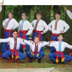 The men and boys of Ukrainian American Heritage Foundation's dance camp (back row, from left) assistant instructor Roman Mykyta, Justin Dages, David Mash, Vladimir Holoviak, Joshua Hafker, counselor Joseph Hutzayluk, (front row) Damon Hudak, Dominik Hudak and Petro Pitula.