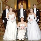 Debutantes and their escorts (from left): Anizia Babczenko, Severyn Kushmeliuk, Anastazia Kohout, Danylo Duvalko, Adriana Buniak and Alexander Firko.