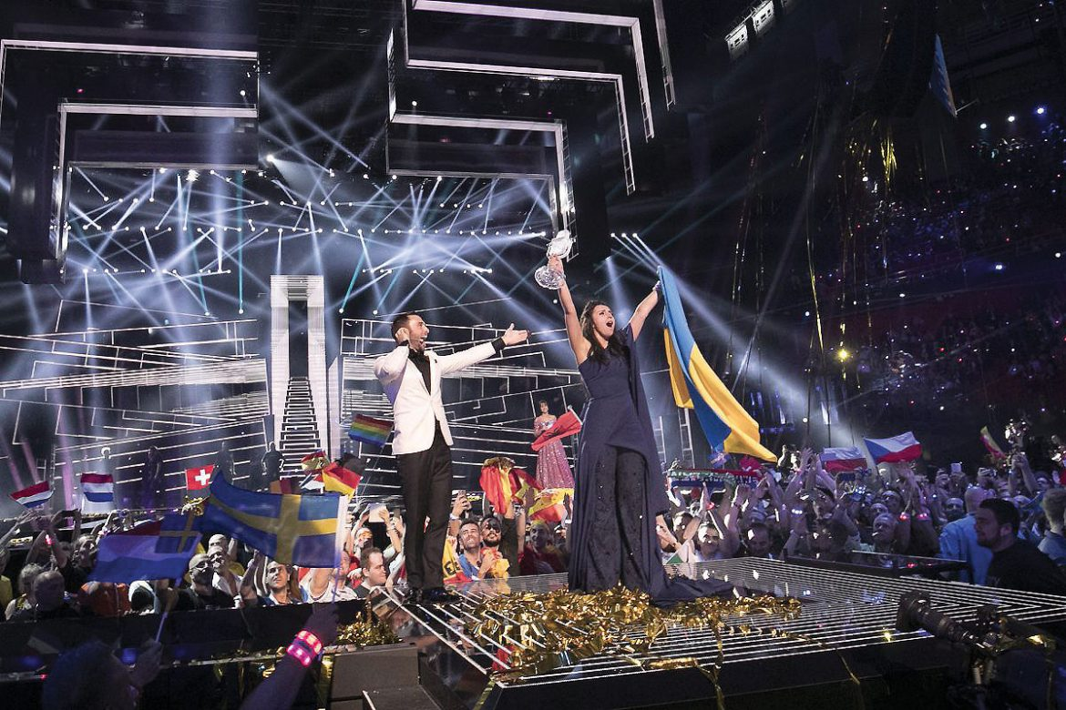 Jamala reacts to winning the 2016 Eurovision Song Contest.