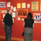 "Visitors to the ""Politics and Ukrainian-Americans"" exhibit at the Ukrainian Museum-Archives in Cleveland."