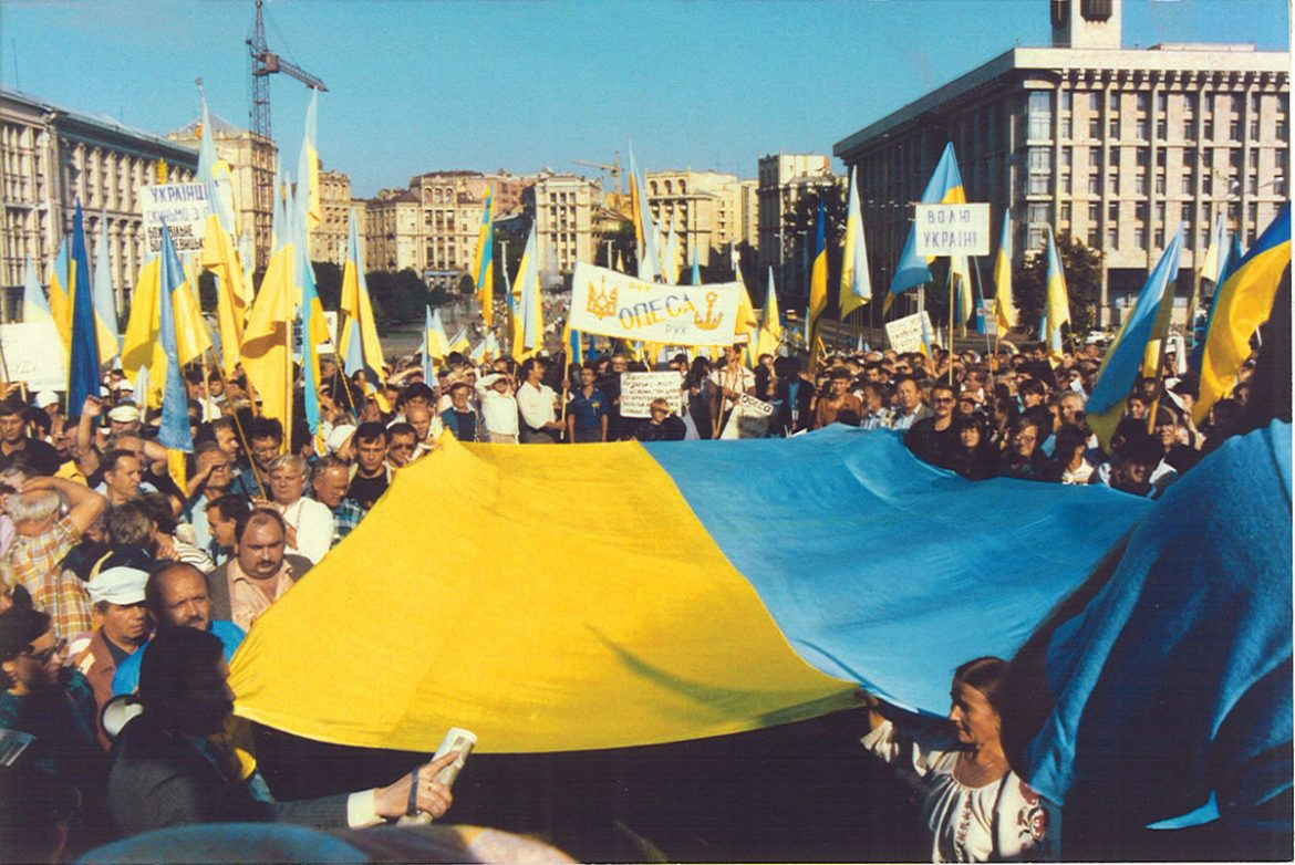 August 24, 1991: The scene on Kyiv's October Revolution Square – later renamed Independence Square – as the public celebrates Ukraine's newly re-established independence.