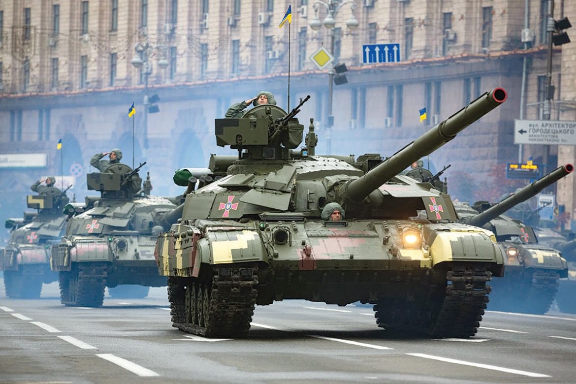 Tanks roll on Khreshchatyk Street in Kyiv during a military parade marking Ukraine's 25th anniversary of independence.