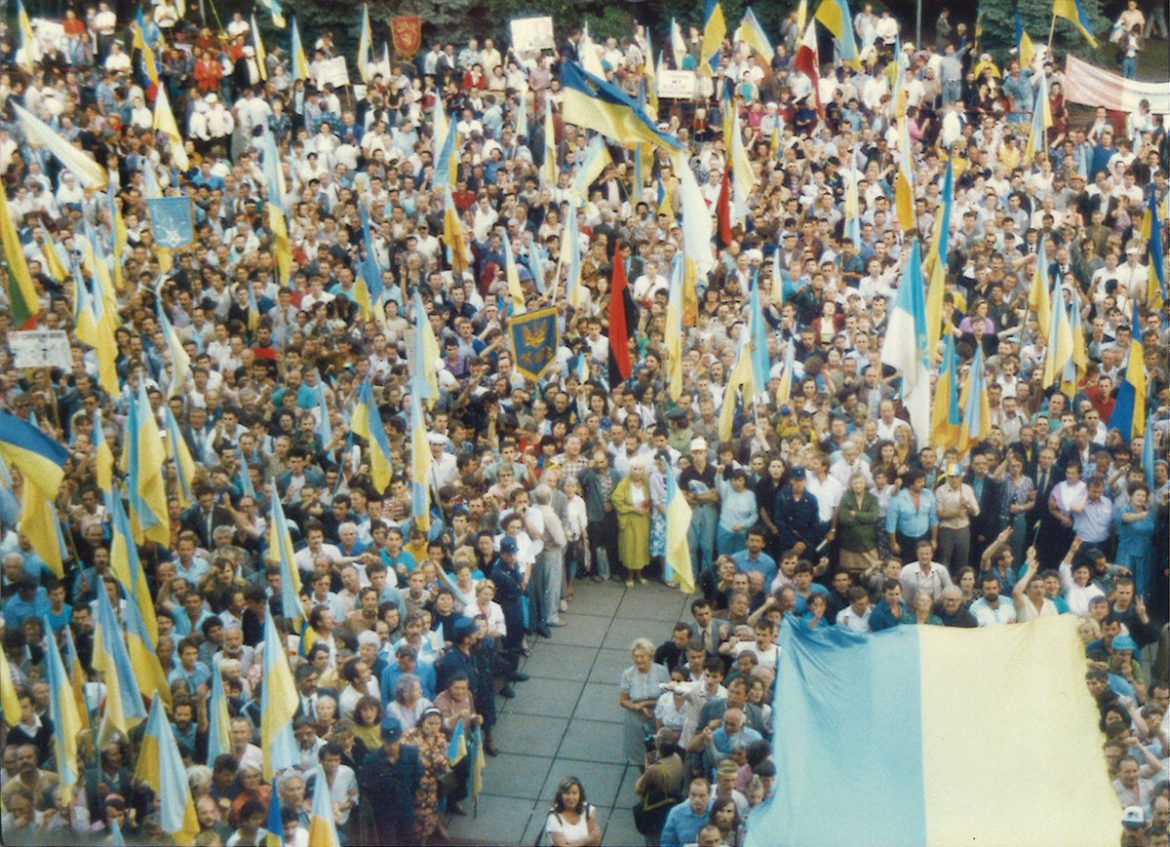 August 24, 1991: The scene outside the Verkhovna Rada as members of the Ukrainian Parliament met in a special session on the day Ukraine's independence was proclaimed. (The view is from a window inside the Rada building.)