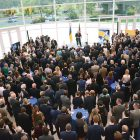 A large crowd of representatives of Ukrainian American, diplomatic, government, business and other organizations fills the central hall of the United States Institute of Peace on September 13 in Washington to celebrate the 25th anniversary of Ukraine's independence.