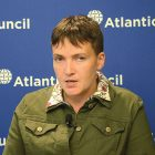 Nadiya Savchenko, former Ukrainian military pilot and now a member of the Verkhovna Rada, discusses her experience as a prisoner of war in Russia and her views on the situation in Ukraine and its relationship with Russia at the Atlantic Council think tank in Washington on September 22.