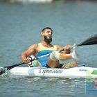 Canoe sprint gold medalist Serhii Yemelianov celebrates the win in the (KL3) 200-meter race with a time of 39.810 seconds.