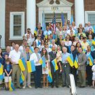 Ukrainian Americans and friends gathered for a group photo in front of Town Hall in Union Township, N.J.
