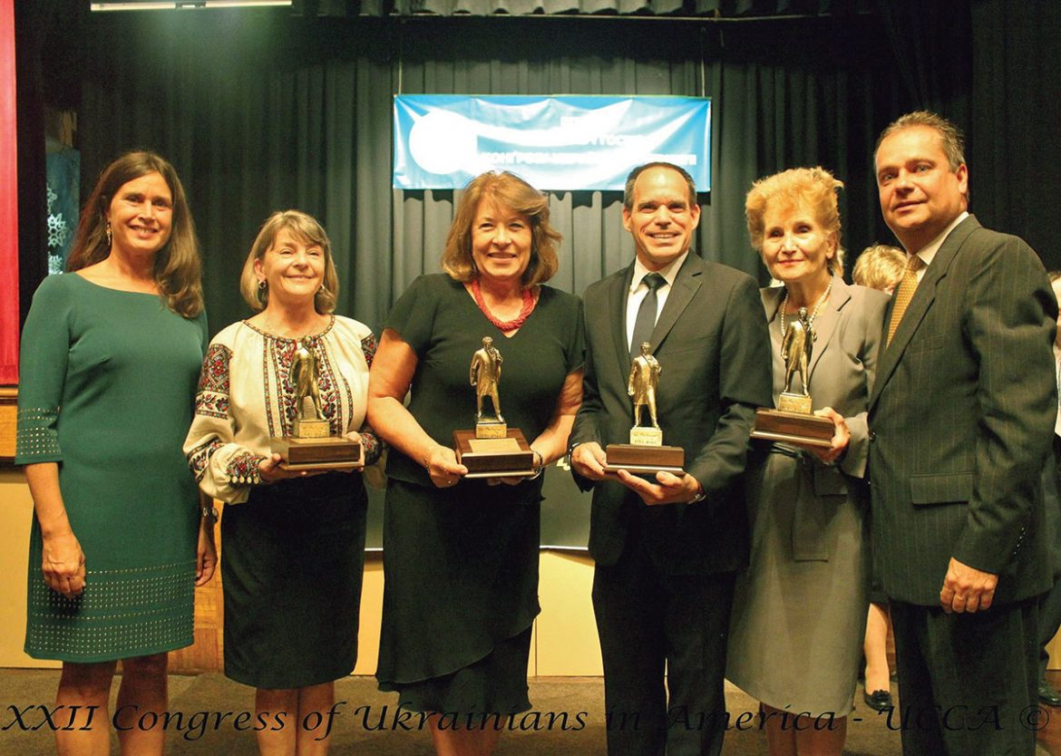 Recipients of the Taras Shevchenko Freedom Award flanked by UCCA officers (from left): UCCA President Tamara Olexy, Roma Hadzewycz, Marie Duplak, Michael Sawkiw Jr., Dr. Larissa Kyj and UCCA Executive Vice-President Andriy Futey.