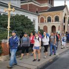 Beginning the Tribute Walk from Patronage of the Mother of God (St. Mary's) Ukrainian Catholic Church in McAdoo, Pa.