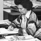 Lubov Kolensky at her desk at Svoboda, then located in Jersey City, N.J.