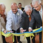 WHIPPANY, N.J. – At the grand opening of the Ukrainian Sports Museum at the Ukrainian American Cultural Center of New Jersey, the ribbon is cut by (from left): Myron Bytz of the museum's board of directors, N.J. Devils great Ken Daneyko, Whippany Mayor Ron Francioli and Ihor Laszok of Selfreliance Ukrainian American Federal Credit Union. To read all about this new museum and the inaugural inductions into its Sports Hall of Fame, see page 11.