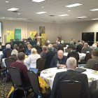 The conference audience listens to Lesley Cormack, dean of the Faculty of Arts at the University of Alberta.
