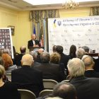 """The Rev. Bohdan Prach, rector of the Ukrainian Catholic University in Lviv, discusses the importance of the subject of his two-volume book, """"The Clergy of the Peremyshl Eparchy and the Apostolic Administration of Lemkivshchyna"""" at the Ukrainian Embassy in Washington, where he had just been presented the Antonovych Foundation award for 2016."""