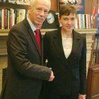 Canadian Foreign Affairs Minister Stéphane Dion with Ukrainian National Deputy Nadiya Savchenko on December 1 in Ottawa.
