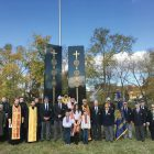 At the Veterans Day service led by Metropolitan Antony at the Ukrainian American Veterans' Monument at St. Andrew's Ukrainian Orthodox Cemetery in South Bound Brook, N.J.