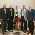 Presenters who spoke on October 1 about the 40th anniversary of the Canadian Institute of Ukrainian Studies at the XXV triennial Congress of Ukrainian Canadians were (from left): Volodymyr Kravchenko, Jars Balan, Alla Nedashkivska, Bohdan Klid and Roman Yereniuk.