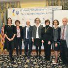 Presenters at the Holodomor event held at the Embassy of Ukraine (from left): Oksana Shulyar, Bohdana Urbanovych, Dr. Frank Sysyn, Larysa Kurylas, Liudmyla Hrynevych, Marta Baziuk and Bohdan Klid.