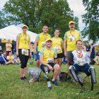 Wounded warriors from Ukraine (from left, front row): Vadym Maznichenko, Vadym Sviridenko; (back row) Natalia Melnychenko, Dmytro Fesenko, Kateryna Mashko and Volodymyr Havrylov during the 41st U.S. Marine Corps Marathon on October 30 in Washington.