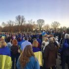 Ukrainian community members and diplomats of the Embassy of Ukraine in the U.S. at the vigil for heroes of the Heavenly Brigade that was held near the Lincoln Memorial.