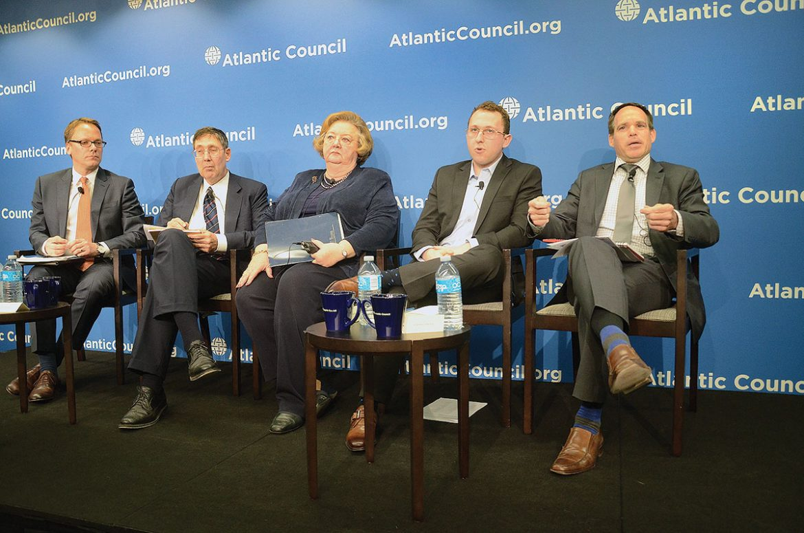 Michael Sawkiw (right), director of the Ukrainian National Information Service, discusses Russian President Vladimir Putin's – and his predecessors' – use of disinformation during a panel discussion at the Atlantic Council about Ukraine's past and current problems with Russia.  The other panelists are (from left): Timothy Fairbank, senior fellow with the Atlantic Council's Dinu Patriciu Eurasia Center; the center's director, Ambassador John Herbst; Nadia McConnell, president of the U.S.-Ukraine Foundation; and Naphtali Rivkin, research fellow at the Victims of Communism Memorial Foundation.