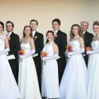 Debutantes and escorts (from left): Victoria Sysak and Ivan Wolansky, Marika Olijar and Alexandr Bokatch, Lesya Zappernick and Danylo Powers, Julia Kashuba and Pavlo Stasiuk, Lydia Lisowsky and Mykola Seneczko.