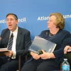 "John Herbst, who served as U.S. ambassador to Ukraine in 2003-2006, describes Russia's ""brief flirtation with democracy"" as sadly ending when Vladimir Putin took over that country's leadership. Sitting next to him during the Atlantic Council's panel discussion about ""Connecting Ukraine's Past and Present: from Holodomor to the War in Donbas,"" is Nadia McConnell, president of the U.S.-Ukraine Foundation."