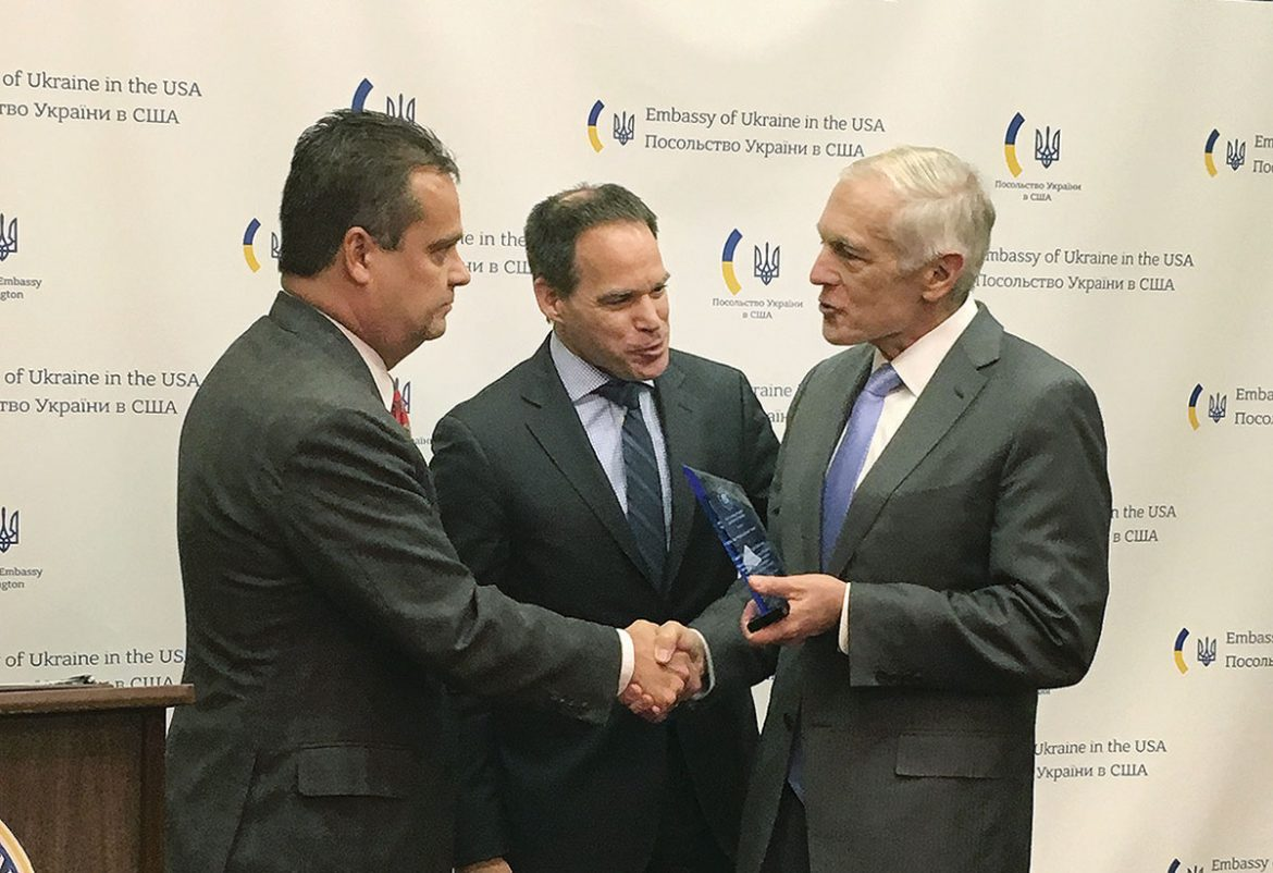 Ukrainian Congress Committee of America President Andriy Futey (left) and Vice-President Michael Sawkiw (center) with Gen. Wesley Clark (ret.)