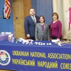 "At the ""World of Garlic"" presentation at St. Nicholas Ukrainian Catholic Church in Passaic (from left) are : UNA National Secretary Yuriy Symczyk, New Jersey District Chairperson and Branch 37 Secretary Oksana Stanko, and Maria Drich, UNA sales agent."