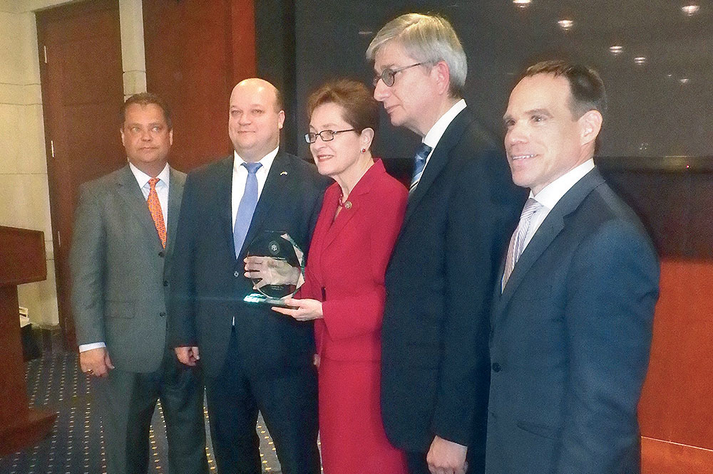 Rep. Marcy Kaptur (center), Friend of UNIS award recipient and co-chair of the Congressional Ukrainian Caucus, at the Capitol Visitor Center with (from left): Ukrainian Congress Committee of America President Andrew Futey, Ukraine's Ambassador to the U.S. Valeriy Chaly, Ukrainian World Congress President Eugene Czolij and Ukrainian National Information Service Director Michael Sawkiw Jr.