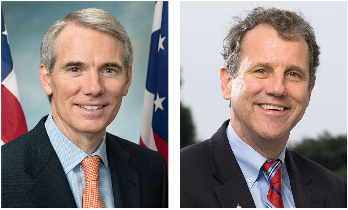 Sponsors of Senate Resolution 100 (from left) Sens. Rob Portman (R-Ohio) and Sherrod Brown (D-Ohio).