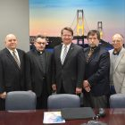 Meeting with Sen. Gary Peters (center) from left are: Mykhaylo Dyachun, Yaroslav Andriashko, Father Valeriy Kandyuk, Roman Zubar, Michael Andriashko and Borys Potapenko.