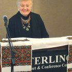 "Vera Andrushkiw speaks at the conference session titled ""Adding to the Melting Pot: Ukrainians in Detroit."""