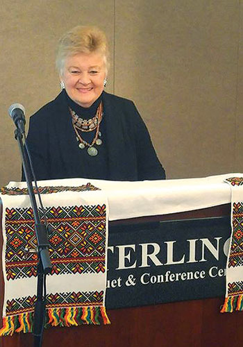 """Vera Andrushkiw speaks at the conference session titled """"Adding to the Melting Pot: Ukrainians in Detroit."""""""