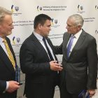 At a reception held at the Embassy of Ukraine on the eve of a conference on securing Ukraine's sovereignty, Ukraine's Foreign Affairs Minister Pavlo Klimkin is flanked by Dr. Phillip Karber (left) and Gen. Wesley Clark (ret.), both of whom were honored with Friends of Ukraine awards presented by the Ukrainian Congress Committee of America.