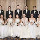 2017 Chervona Kalyna Cotillion Ball debutantes and their escorts (from left): Hanna Trojanowski and Alexander Komarynskyj, Natalia Moroch and Matey Adriyan Bach, Olivia Tytla and Alexander Paul Iwaskiw, Moonya Reszytniak and Matthew Stefurak, Sophia Senyk and Markian Ougrin, Julia Moroch and Ross Kujdych, Zoriana Moulton and Ostap Holovashchenko, Marta Savchuk and Michael Moroch, Ivanka Lubov Jaremczuk and Maxim Peter Joseph Murphy, Sofia Tasker and Adrian Charchalis, Aleksandra Chomiak and Stepan Shkrobak, Christine Voynarovskiy and Oleksa Rybchuk, Tara Anna Duffy and Darien Roman Fiorino, Katherine Voynarovskiy and Kevin Reznikov.