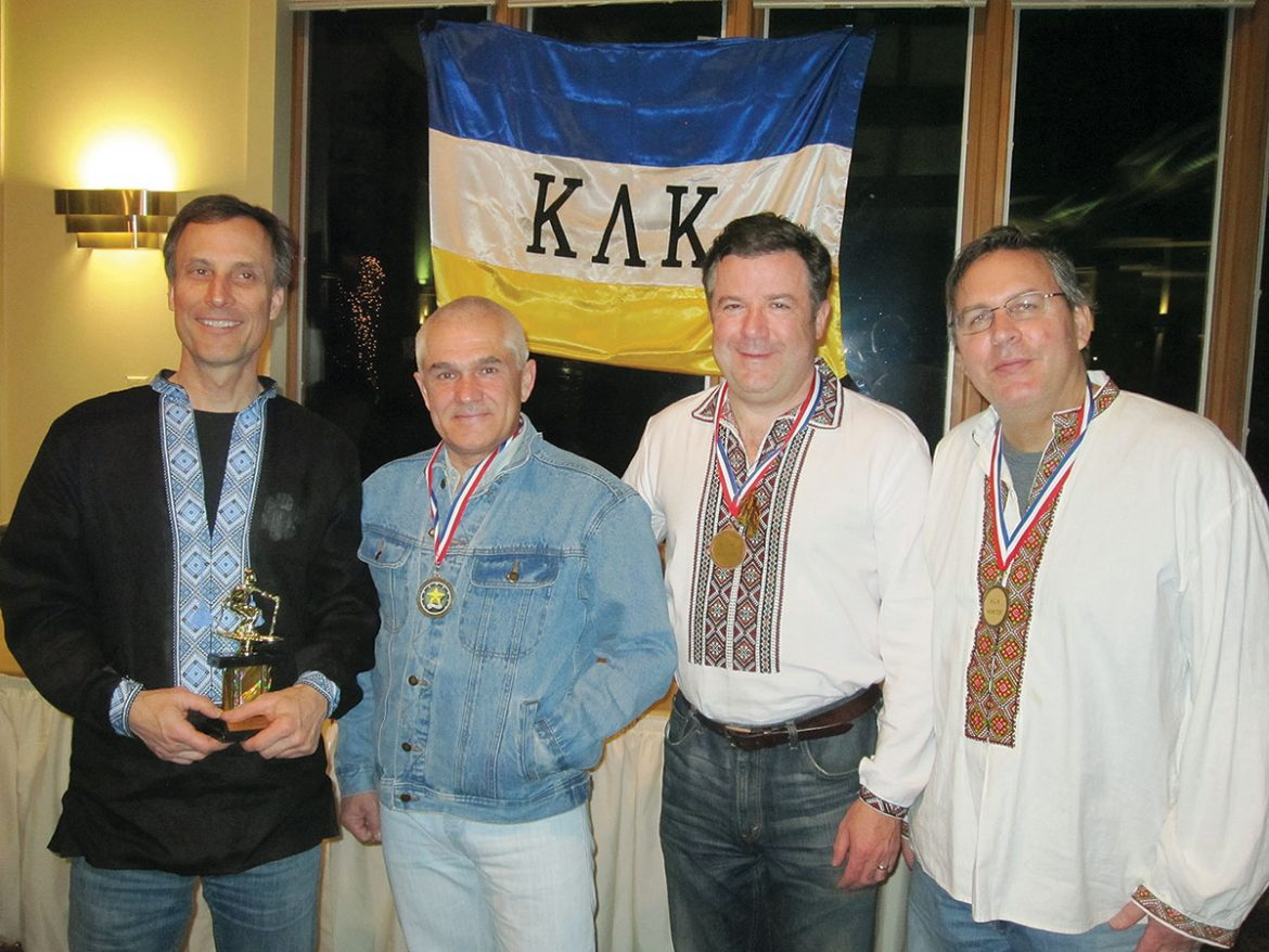 Andrew Kozak (left), the champion among men age 56-59, with fellow competitors (from left) Yuriy Kucher, Peter Lenchur and Mark Pawliczko.