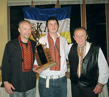 Erko Palydowycz (center), the fastest male skier of the 2017 races, is seen with his father, Eri Palydowycz (left), and grandfather, Severyn (also known as Erko) Palydowycz.