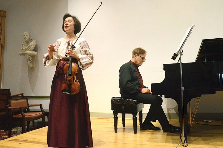 Violinist Solomia Soroka and pianist Arthur Greene.