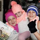 Children in Lviv with their gifts from St. Nicholas.