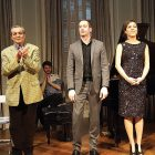During the final bow (from left) are: Solomiya Ivakhiv, violinist; Yevhen Stankovych, composer; Philip Edward Fisher, pianist; Tanya Bannister, pianist; and Yves Dharamraj, cellist.